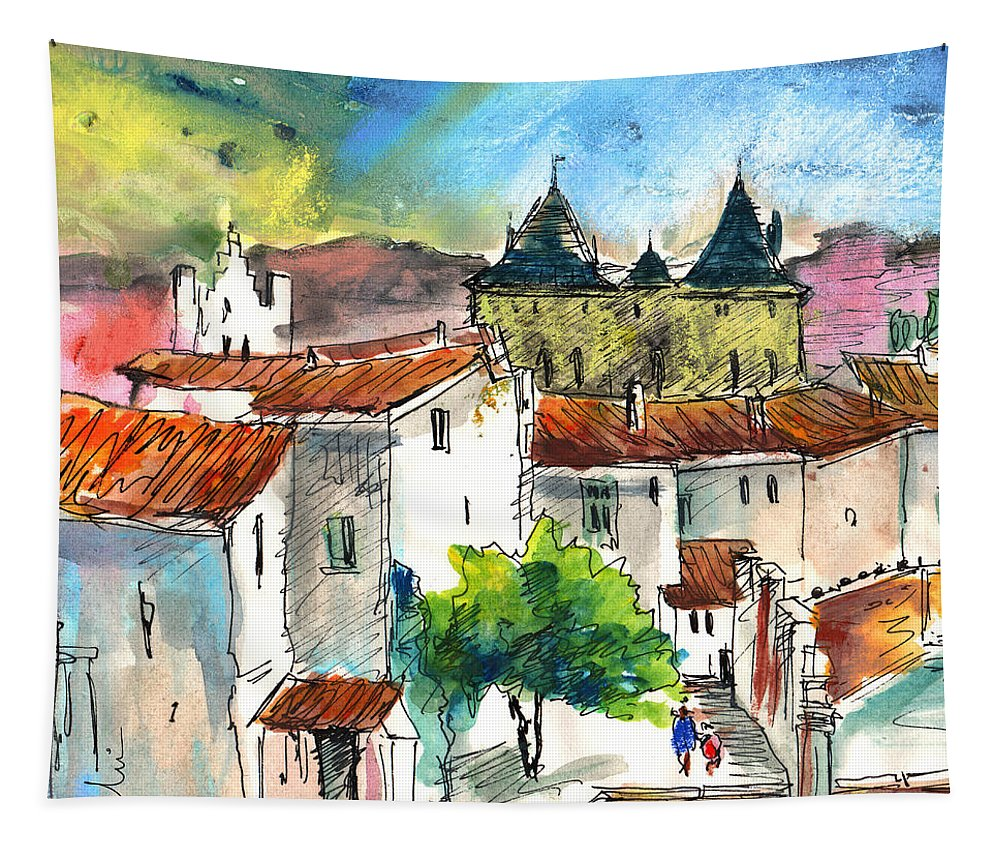 Travel Tapestry featuring the painting Pezens 04 by Miki De Goodaboom