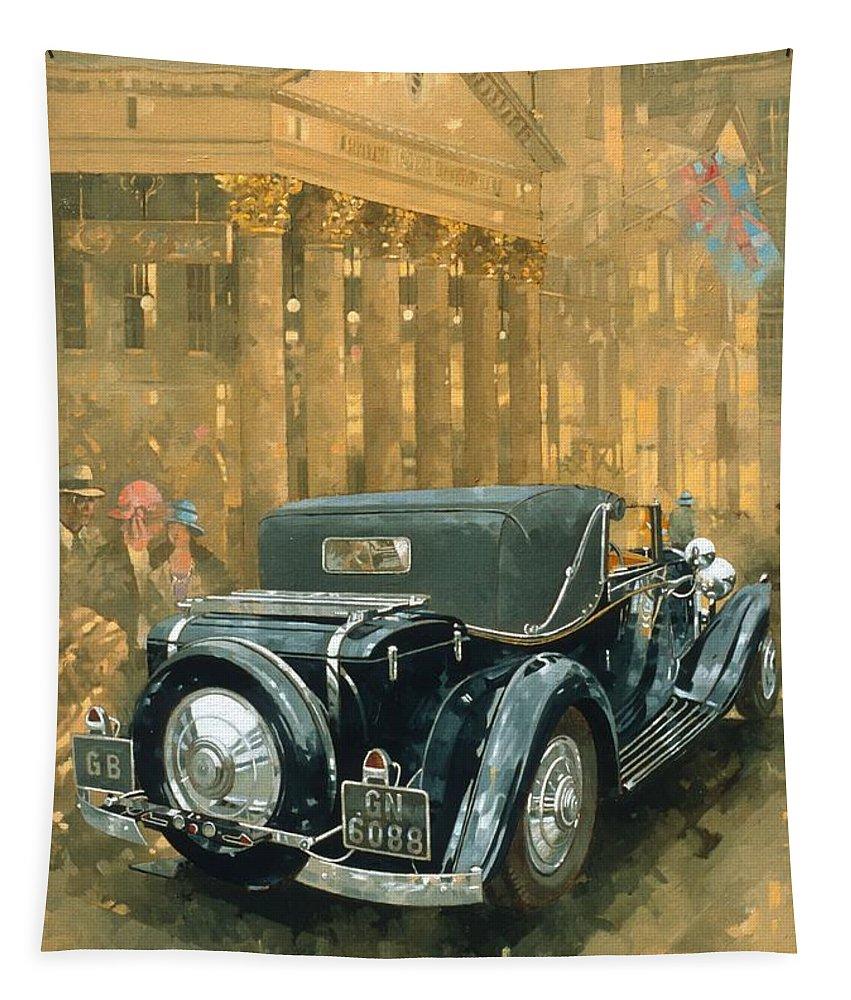 Rolls Royce Phantom Tapestry featuring the painting Phantom In The Haymarket by Peter Miller