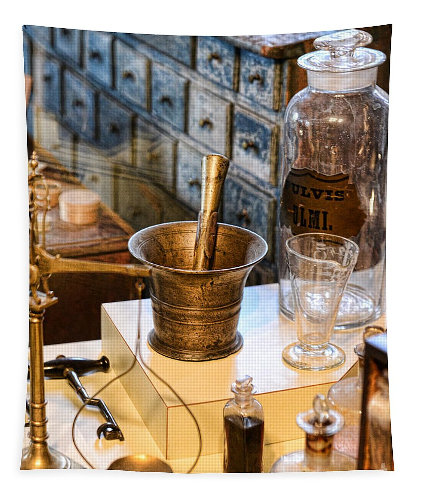 Paul Ward Tapestry featuring the photograph Pharmacist - Brass Mortar And Pestle by Paul Ward