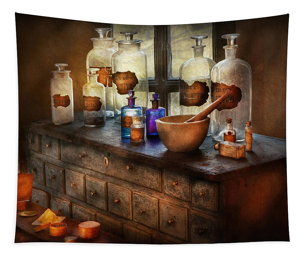 Doctor Tapestry featuring the photograph Pharmacist - Medicinal Equipment by Mike Savad