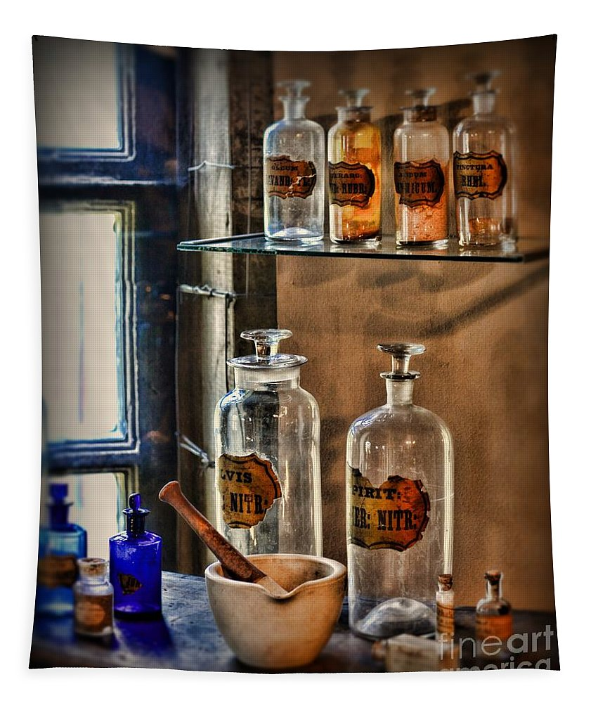 Paul Ward Tapestry featuring the photograph Pharmacist - Medicine Bottles by Paul Ward