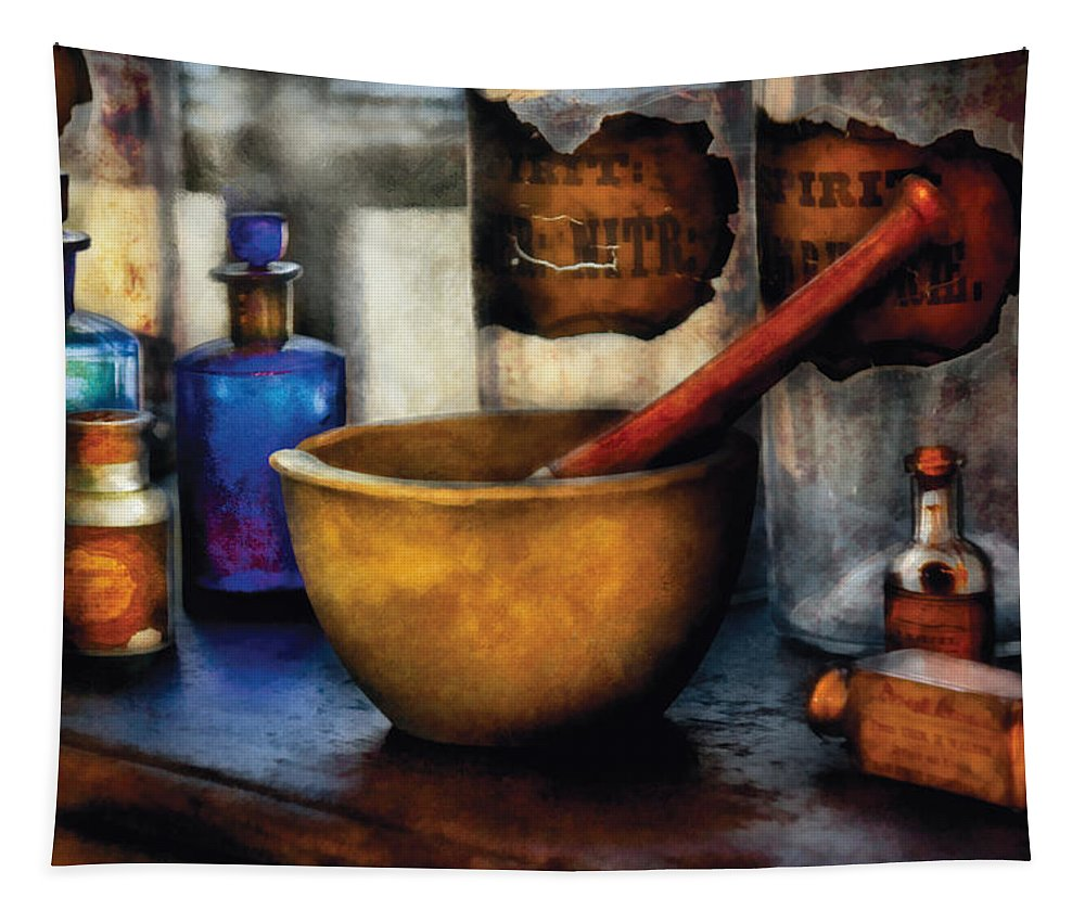 Savad Tapestry featuring the photograph Pharmacist - Mortar and Pestle by Mike Savad