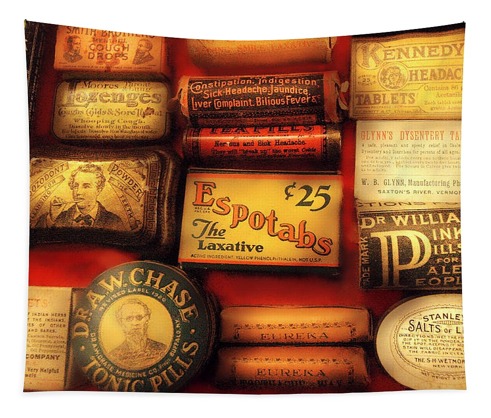 Savad Tapestry featuring the photograph Pharmacist - The Druggist by Mike Savad