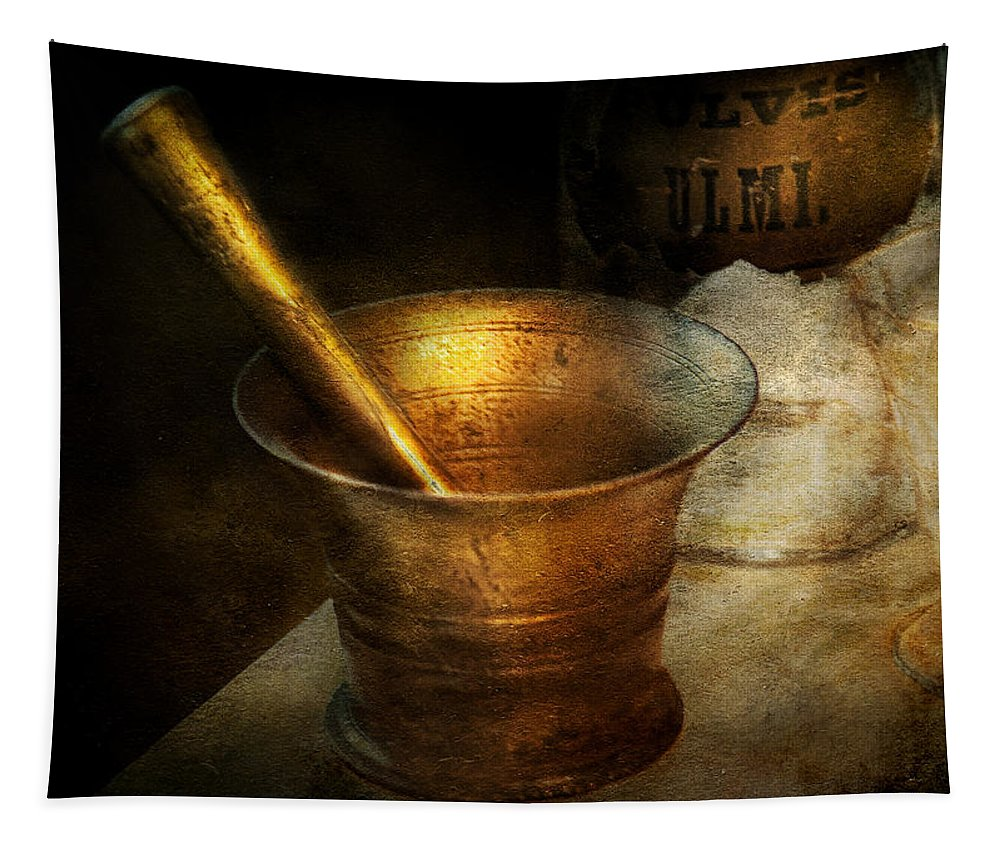 Hdr Tapestry featuring the photograph Pharmacist - The Pounder by Mike Savad
