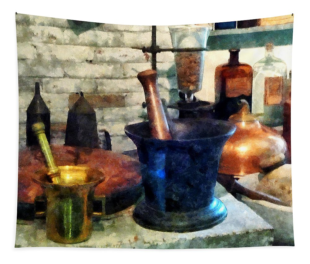 Drugstore Tapestry featuring the photograph Pharmacist - Three Mortar And Pestles by Susan Savad