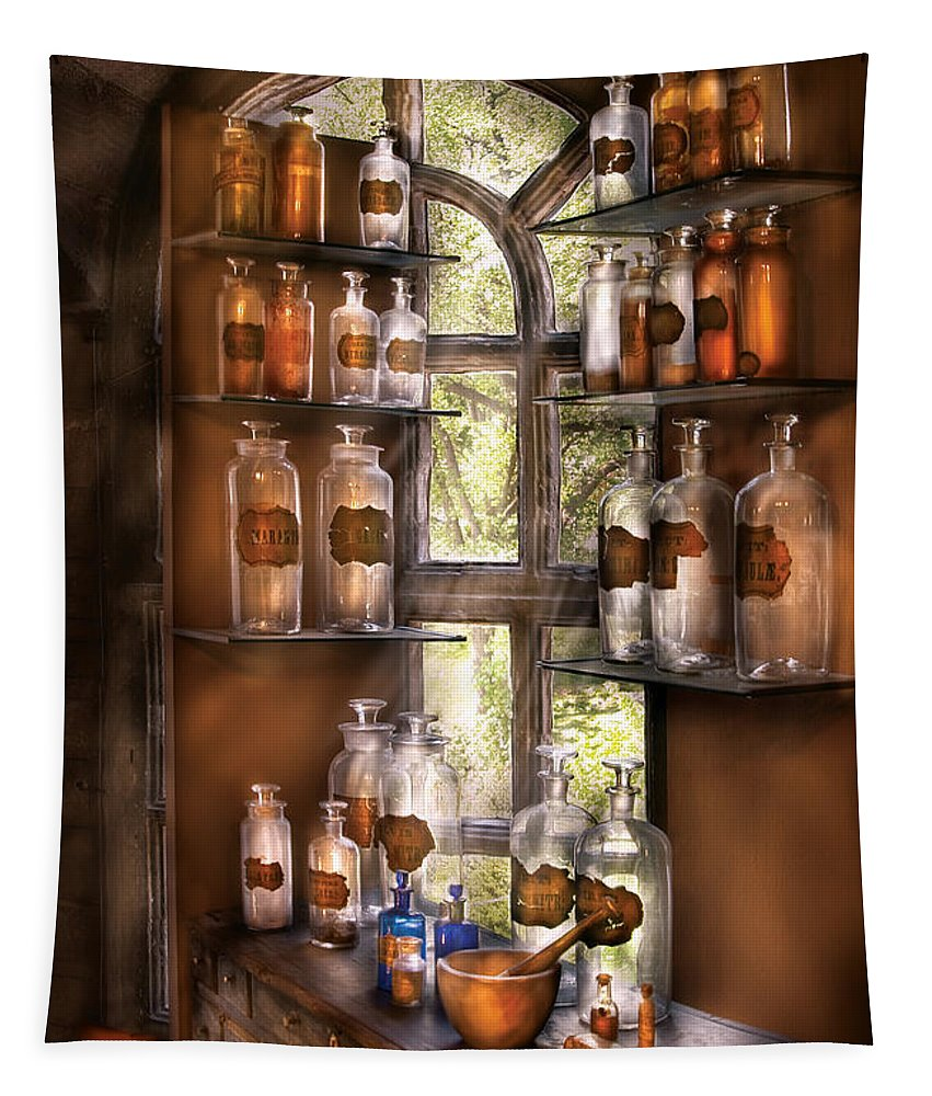 Pharmacy Tapestry featuring the photograph Pharmacist - Various Potions by Mike Savad