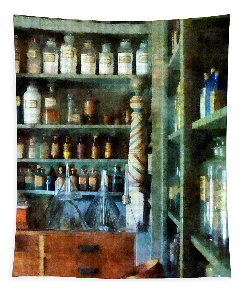 Funnels Tapestry featuring the photograph Pharmacy - Back Room Of Drug Store by Susan Savad