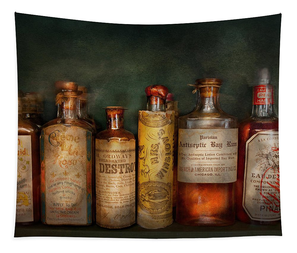 Hdr Tapestry featuring the photograph Pharmacy - Daily Remedies by Mike Savad