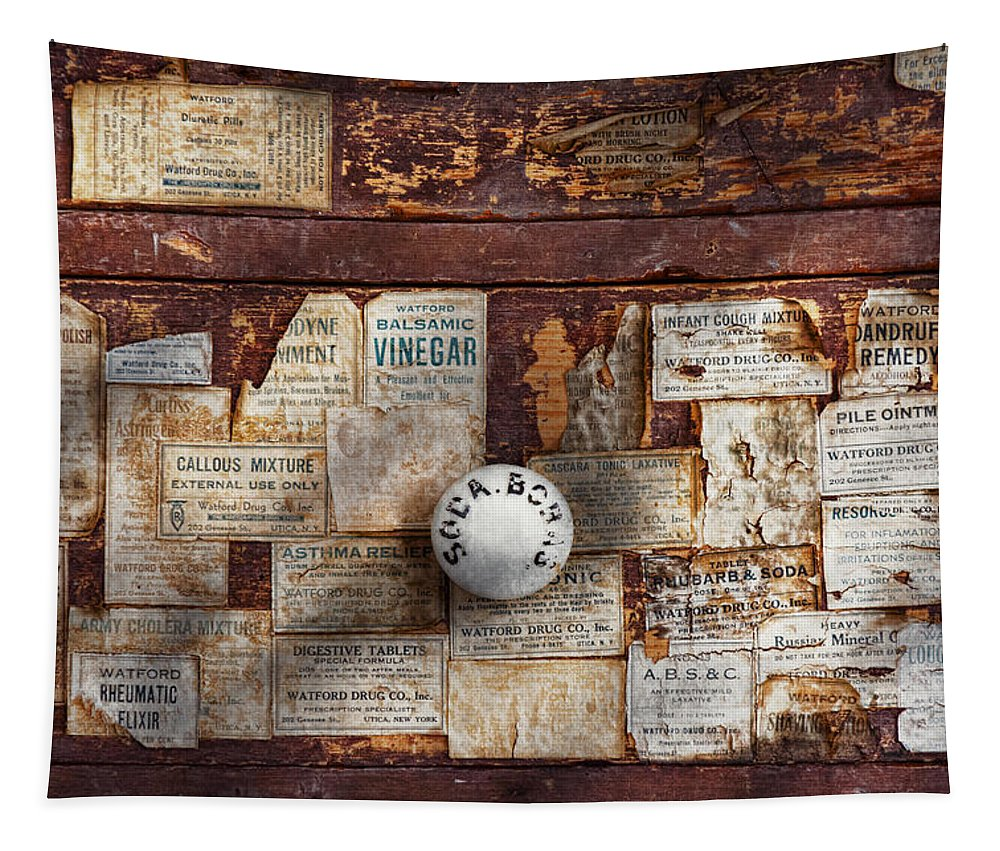 Savad Tapestry featuring the photograph Pharmacy - Signs Of The Time by Mike Savad