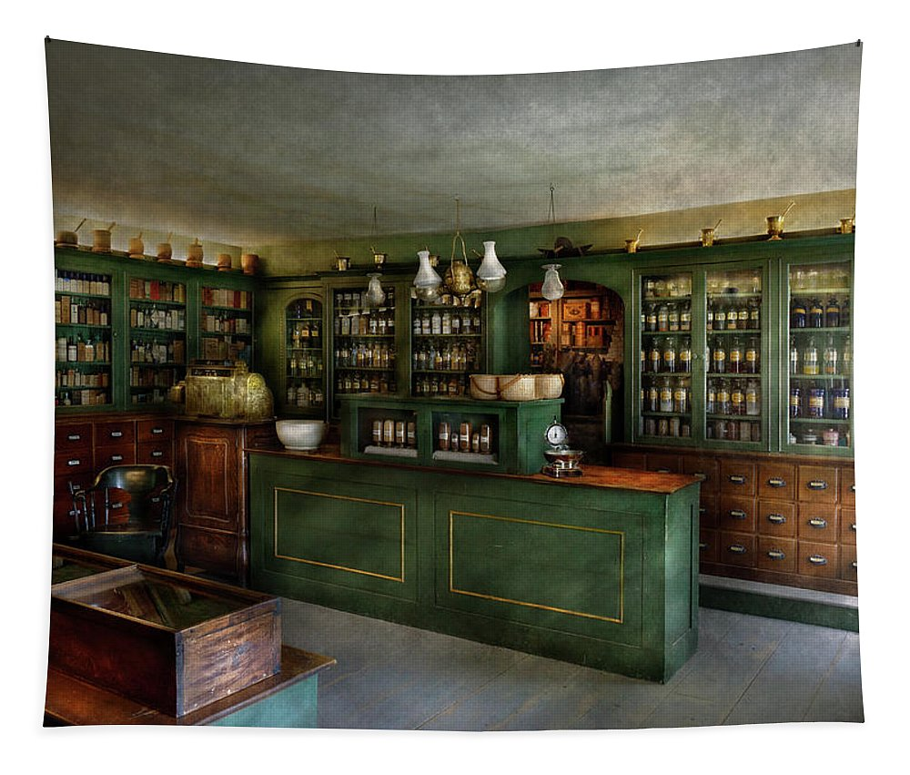 Apothecary Tapestry featuring the photograph Pharmacy - The Chemist Shop by Mike Savad