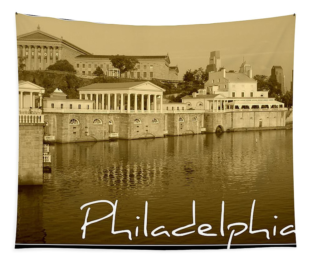 Waterworks Sepia Philadelphia Scenic Tapestry featuring the photograph Philadelphia by Alice Gipson
