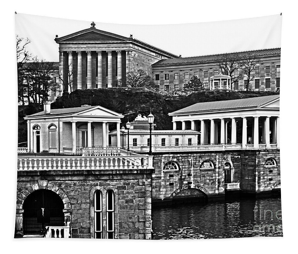 Black And White Tapestry featuring the photograph Philadelphia Art Museum At The Water Works In Black And White by Tom Gari Gallery-Three-Photography