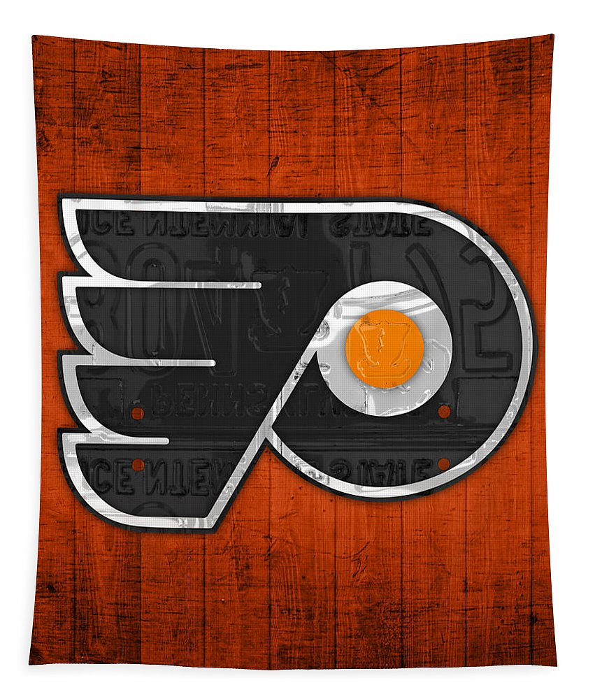 eec9895d64f0 Philadelphia Flyers Hockey Team Retro Logo Vintage Recycled Pennsylvania  License Plate Art Tapestry for Sale by Design Turnpike