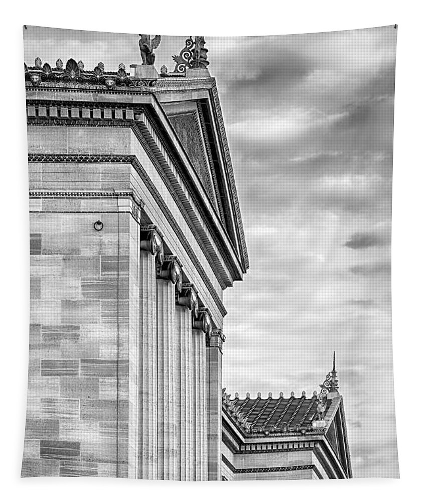Architecture Tapestry featuring the photograph Philadelphia Museum Of Art Facade Bw by Jerry Fornarotto