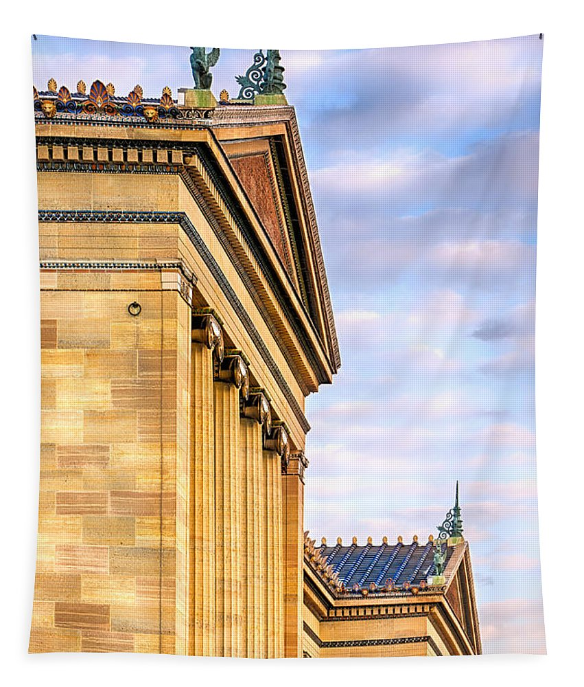 Architecture Tapestry featuring the photograph Philadelphia Museum Of Art Facade by Jerry Fornarotto