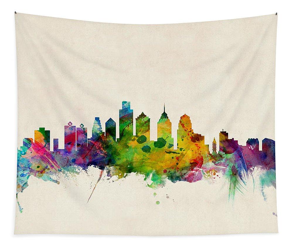 Watercolour Tapestry featuring the digital art Philadelphia Skyline by Michael Tompsett