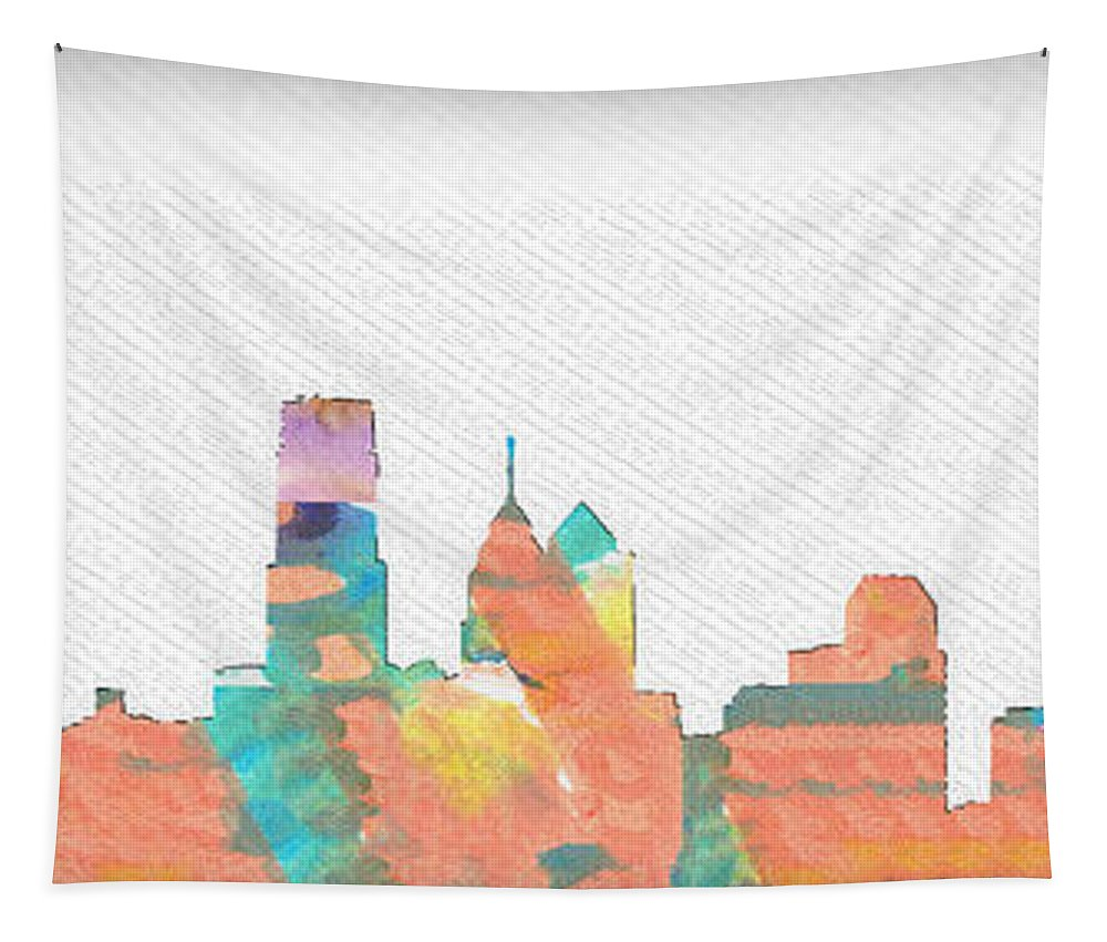 Philadelphia Tapestry featuring the photograph Philadelphia Watercolor Cityscape by Bill Cannon