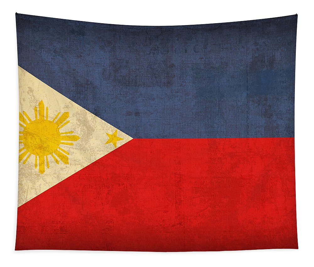 Philippines Tapestry featuring the mixed media Philippines Flag Vintage Distressed Finish by Design Turnpike