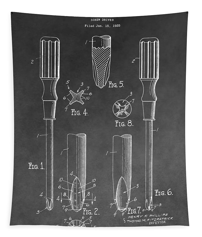 Vintage Phillips Screwdriver Patent Tapestry featuring the mixed media Phillips Screwdriver Patent by Dan Sproul