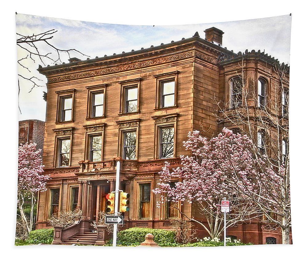 Fairmount Park Old Apartment Building Cherry Trees Tapestry featuring the photograph Philly Fairmount View Two by Alice Gipson