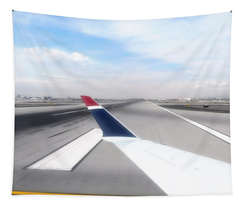 Phoenix Tapestry featuring the photograph Phoenix Az Airport Wing Tip View by Thomas Woolworth