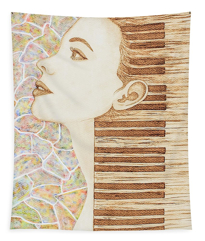 Woman Face Tapestry featuring the painting Piano Spirit Original Coffee And Watercolors Series by Georgeta Blanaru