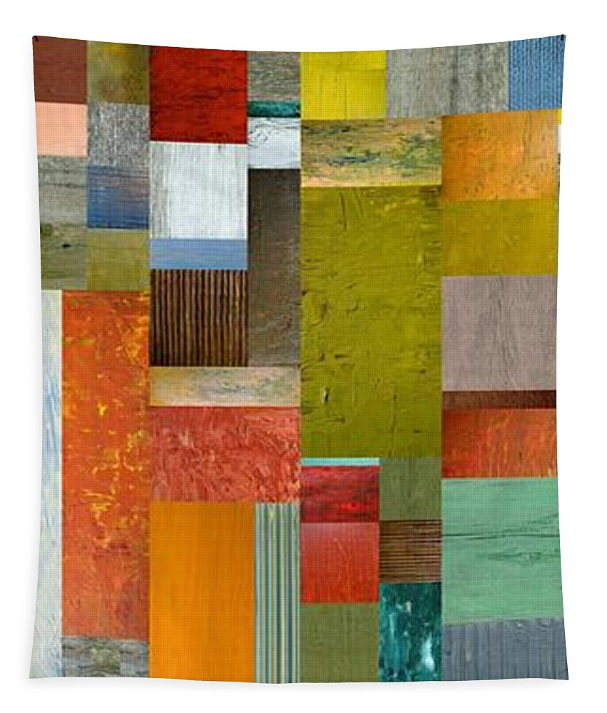Multicolored Tapestry featuring the painting Pieces Parts Lll by Michelle Calkins