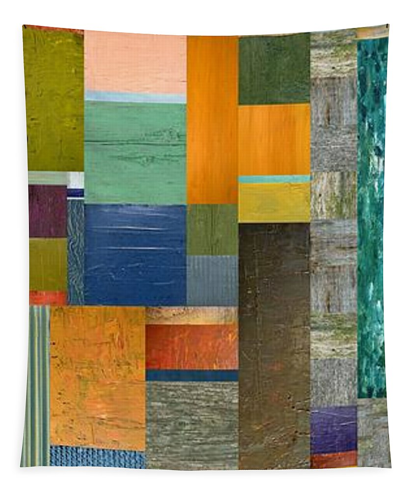 Multicolored Tapestry featuring the painting Pieces Parts V by Michelle Calkins