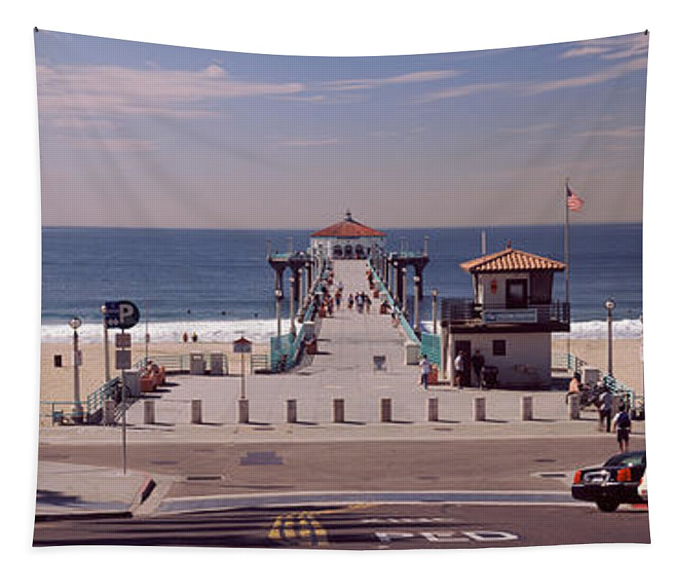 Photography Tapestry featuring the photograph Pier Over An Ocean, Manhattan Beach by Panoramic Images