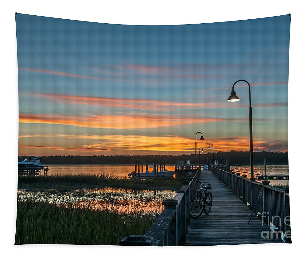 Sunset Tapestry featuring the photograph Pier Sunset by Dale Powell