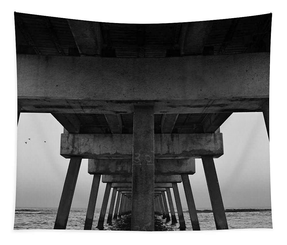 Under Pier Tapestry featuring the photograph Pierhenge Il by Laura Fasulo