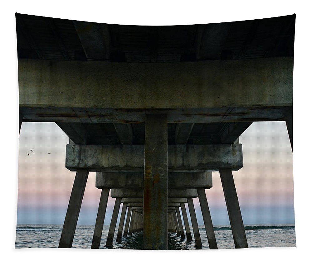 Under Pier Tapestry featuring the photograph Pierhenge by Laura Fasulo