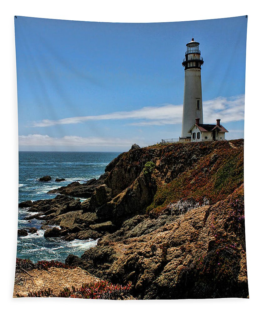 Pigeon Point Tapestry featuring the photograph Pigeon Point Lighthouse Vertical by Judy Vincent
