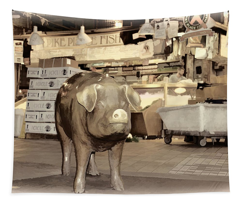 Seattle Pikes Peak Market Golden Brass Pig Tapestry featuring the photograph Pikes Peak Market Pig by Alice Gipson