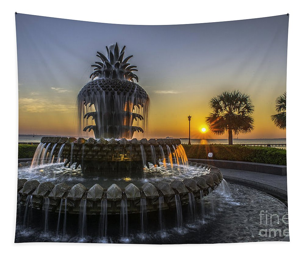 Pineapple Fountain Tapestry featuring the photograph Pinapple Fountain Charleston Sc Sunrise by Dale Powell