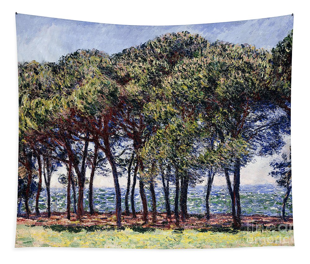 1880s Tapestry featuring the painting Pines by Claude Monet