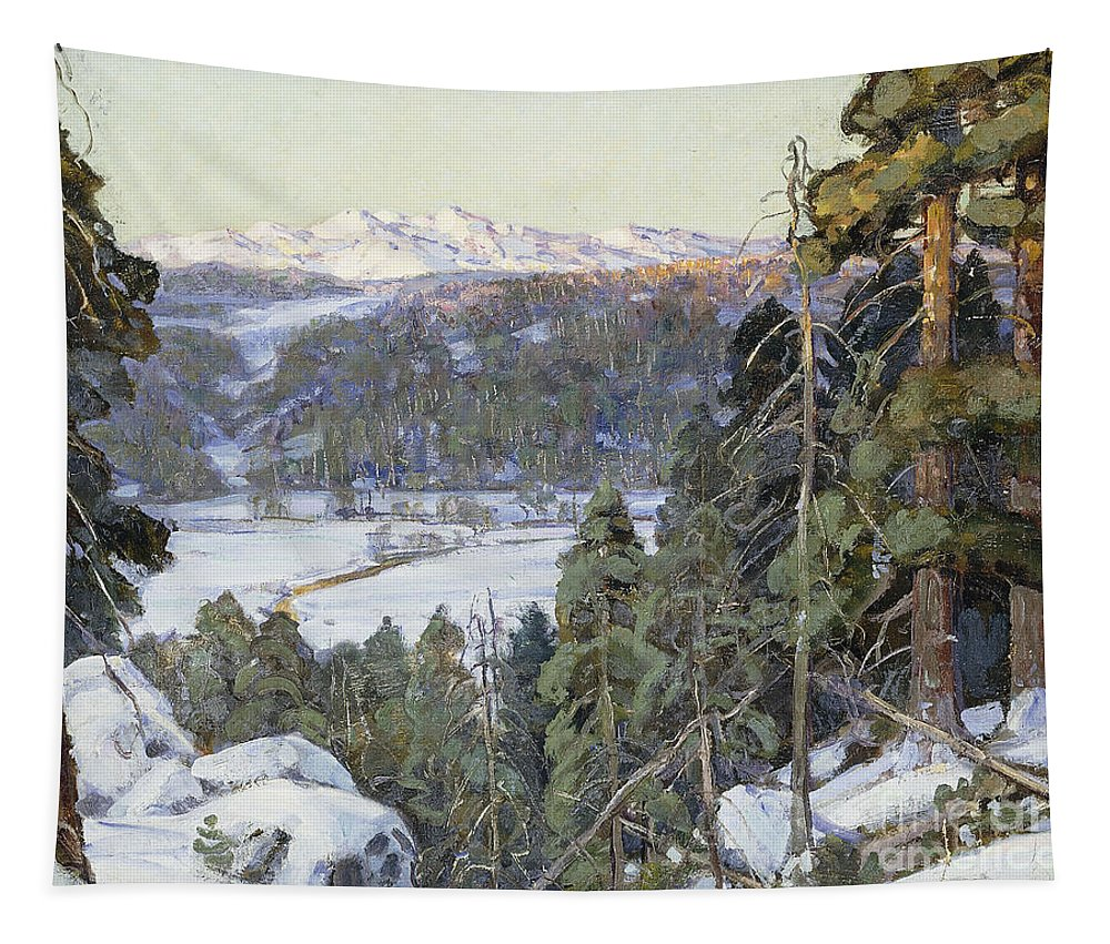 American Tapestry featuring the painting Pines In Winter by George Gardner Symons