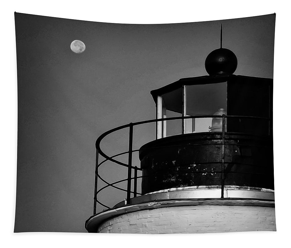 Piney Tapestry featuring the photograph Piney Point Lighthouse And Moon In Black And White by Bill Cannon