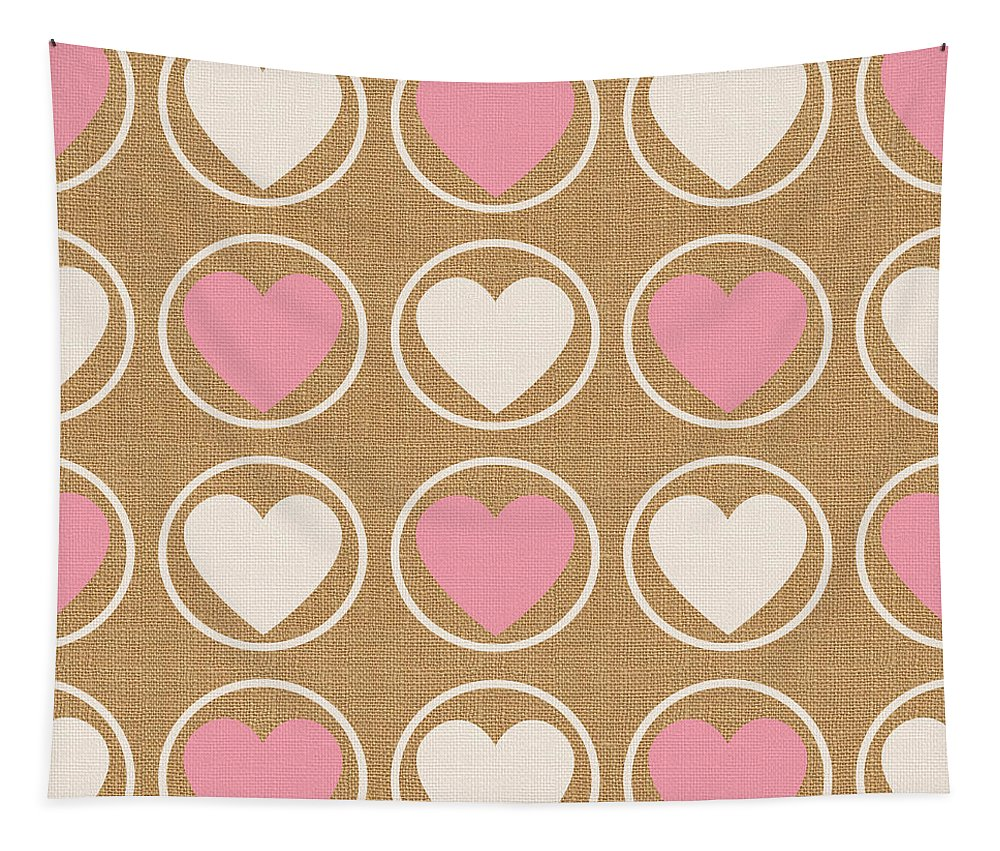 Hearts Tapestry featuring the mixed media Pink and White Hearts by Linda Woods