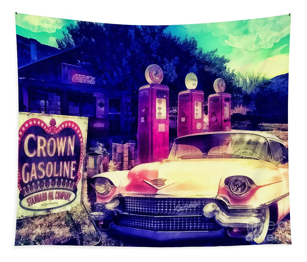 Pink Cadillac Tapestry featuring the painting Pink Cadillac by Mo T