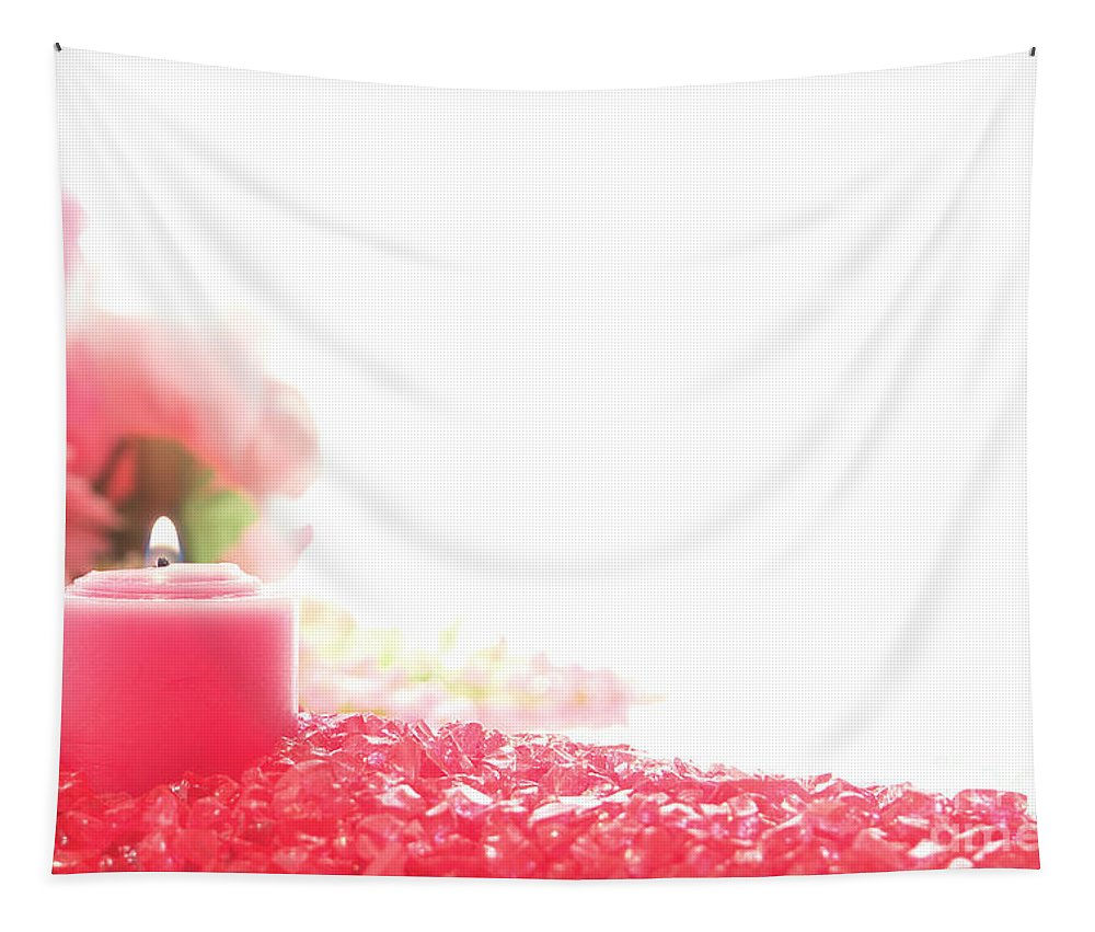 Candle Tapestry featuring the photograph Pink Candle On Crystal by Olivier Le Queinec