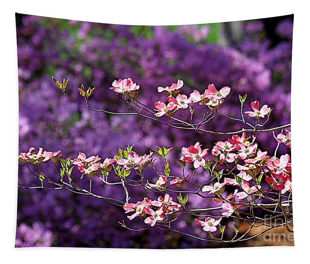 Pink Dogwood Tapestry featuring the photograph Pink Dogwood With Purple Azaleas by Catherine Sherman
