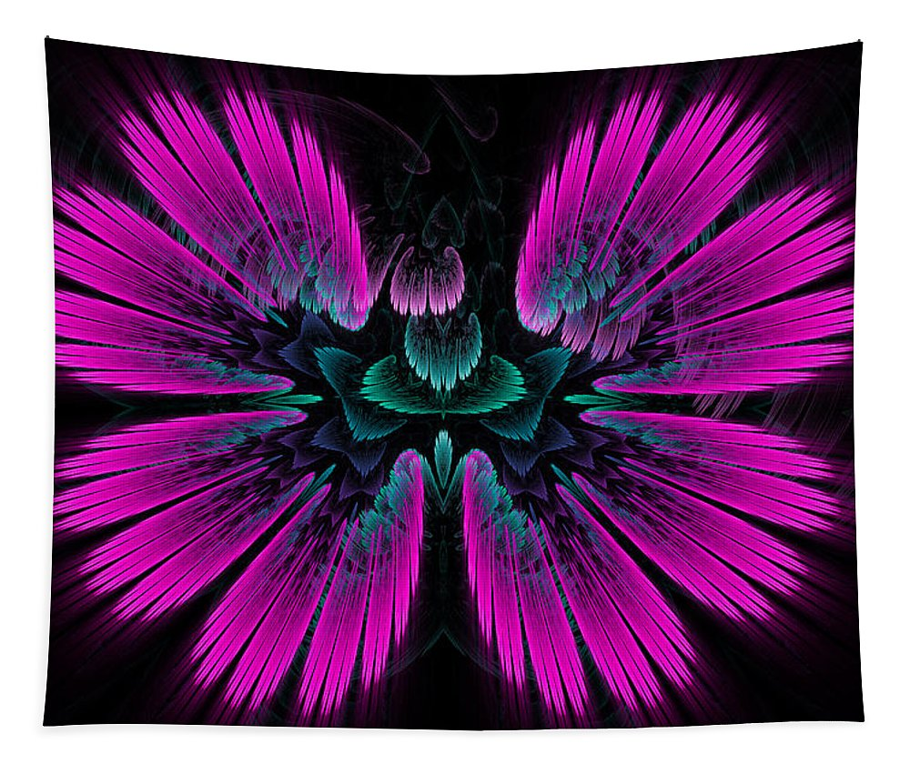 Pink Tapestry featuring the digital art Pink Fractal Flower Explosion by Matthias Hauser