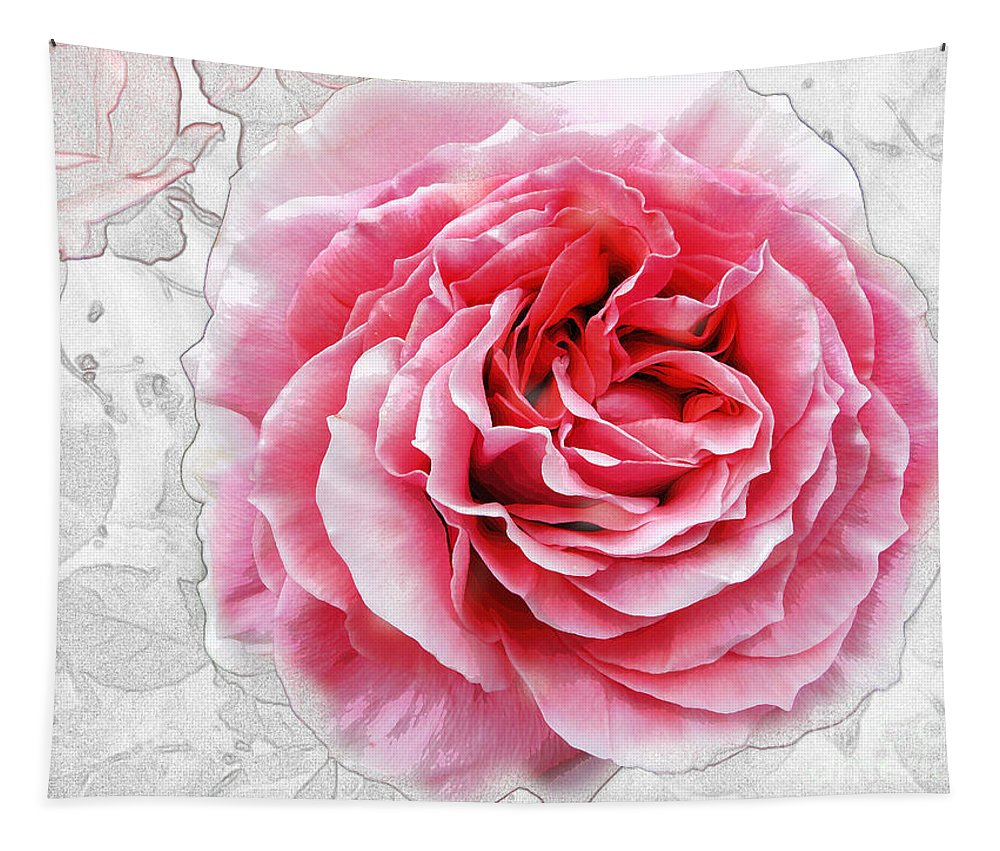 Flowers Tapestry featuring the photograph Pink On White by Ben Yassa