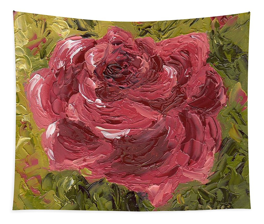 Pink Tapestry featuring the painting Pink Rose by Rosie Phillips