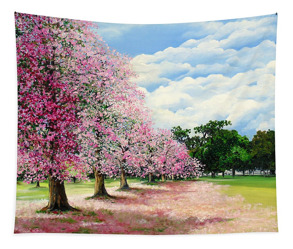 Pink Poui Trees Tapestry featuring the painting Pink Savannah Poui by Karin Dawn Kelshall- Best