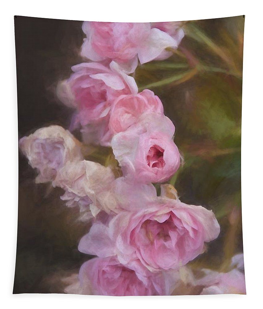 Roses Tapestry featuring the photograph Pink Winter Roses One by Alice Gipson