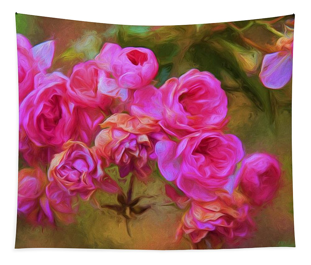 Roses Tapestry featuring the photograph Pink Winter Roses Three by Alice Gipson