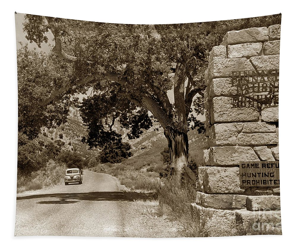 Monterey County Tapestry featuring the photograph Pinnacles National Monument California Circa 1946 by California Views Archives Mr Pat Hathaway Archives