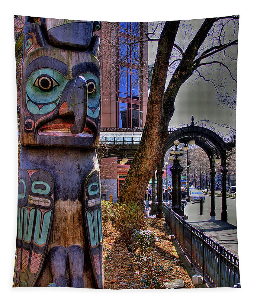 Pioneer Square Seattle Tapestry featuring the photograph Pioneer Square Totem Pole by David Patterson